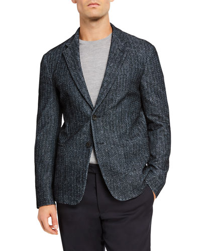 Men's Printed and Flocked Two-Button Jacket