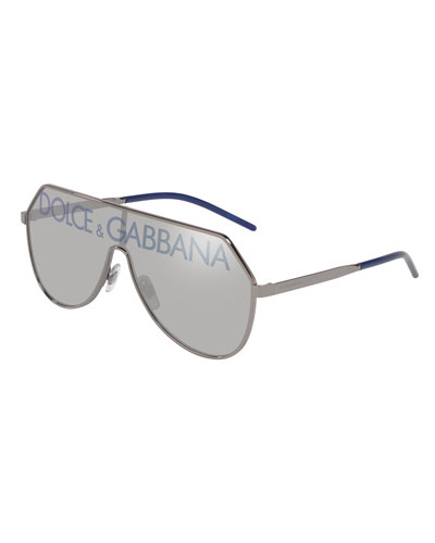 Men's Logo-Monogram Cutout Shield Sunglasses