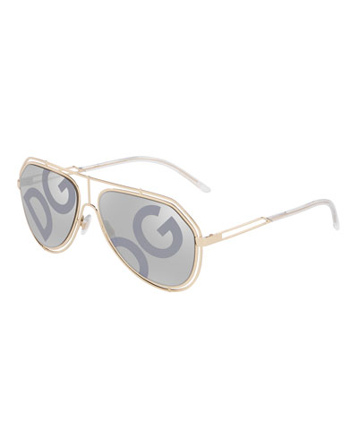 Men's DG Monogram Metal Outline Aviator Sunglasses