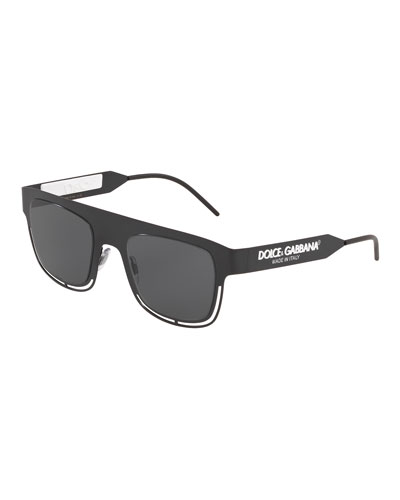 Men's Oversized-Logo Square Cutout Sunglasses