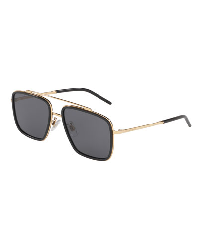 Men's Square Metal Double-Bridge Sunglasses