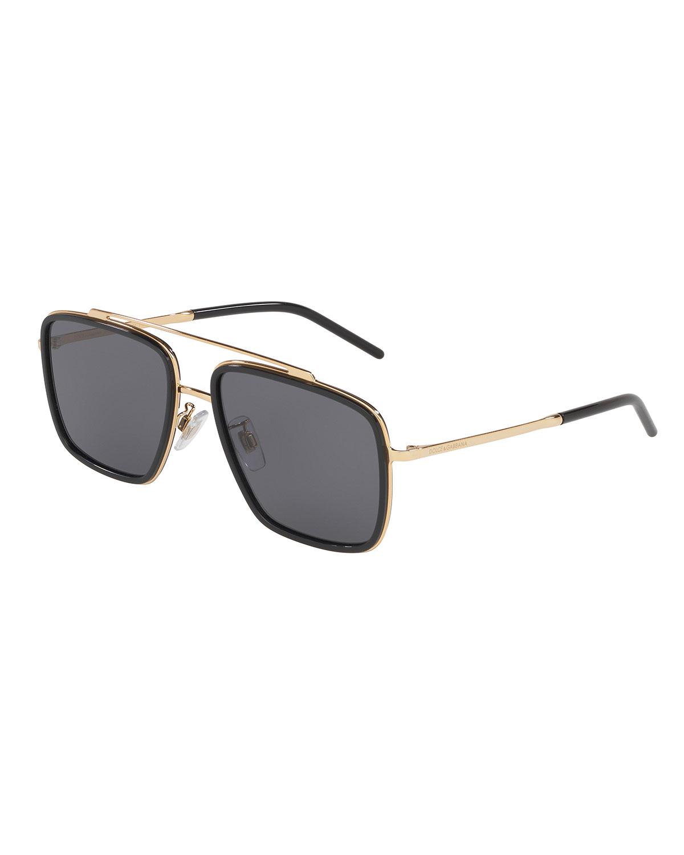d7ed4da1f329 Dolce & Gabbana Men's Square Metal Double-Bridge Sunglasses In Black/Gold