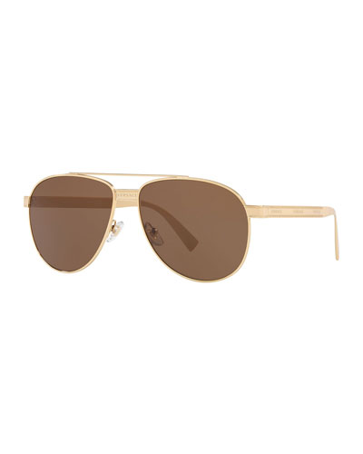 Men's Golden Logo Double-Bridge Sunglasses