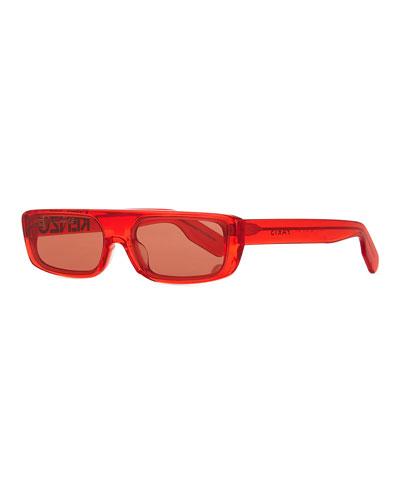 Men's Logo Acetate Sunglasses, Red