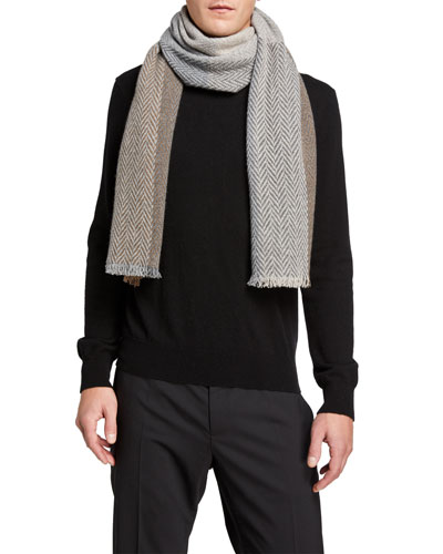 Men's Striped Herringbone Cashmere Scarf