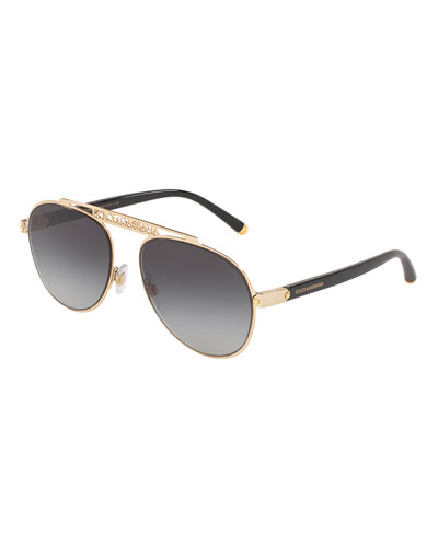 Men's Logo Brow Bar Metal Aviator Sunglasses