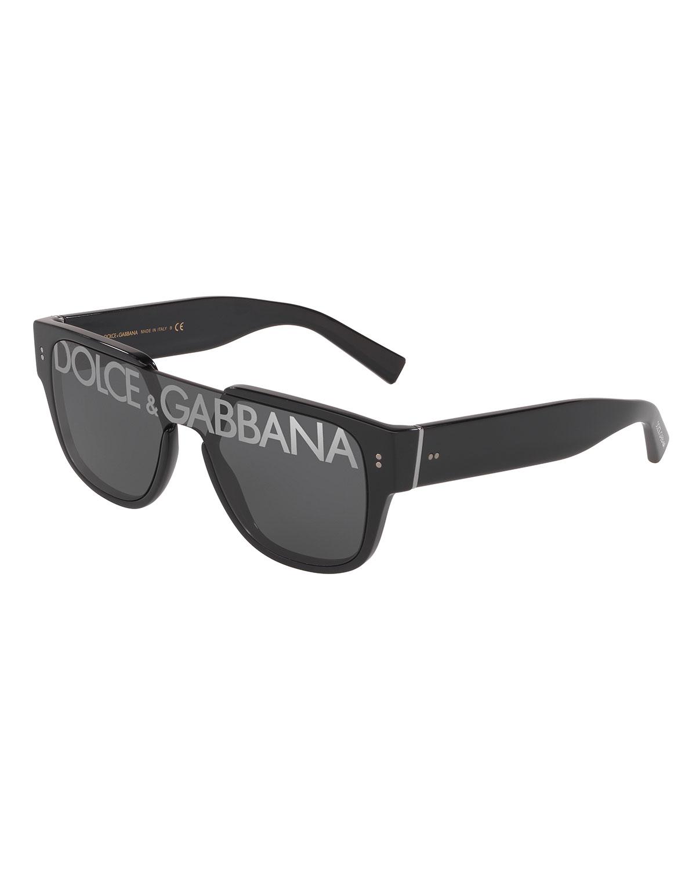 0bd0b4685621 Dolce & Gabbana Men's Logo Monogram Square Sunglasses In Black ...