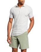 Faherty Men's Isle Striped Melange Polo Shirt, Gray