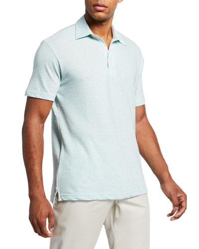 Men's Isle Striped Melange Polo Shirt, Green