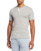 Faherty Men's Short-Sleeve Heathered Henley Tee