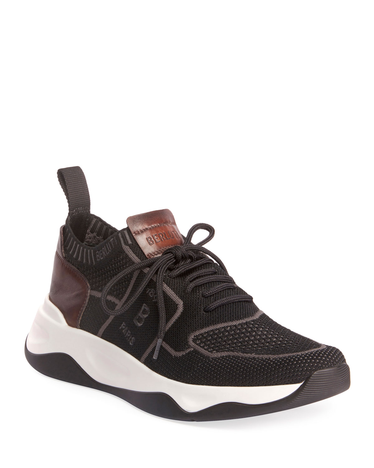 Berluti Sneakers MEN'S SHADOW STRETCH-KNIT/LEATHER SNEAKERS