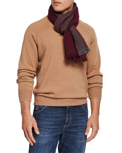 Men's Block-Stripe Cashmere Scarf