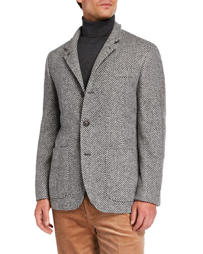 Men's Chevron Three-Button Jacket