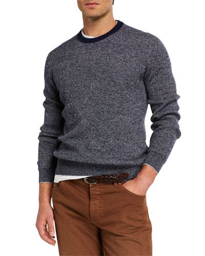 Men's Banded Crewneck Textured Cashmere Sweater