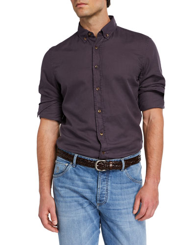 Men's Solid Cotton Contrast-Button Sport Shirt