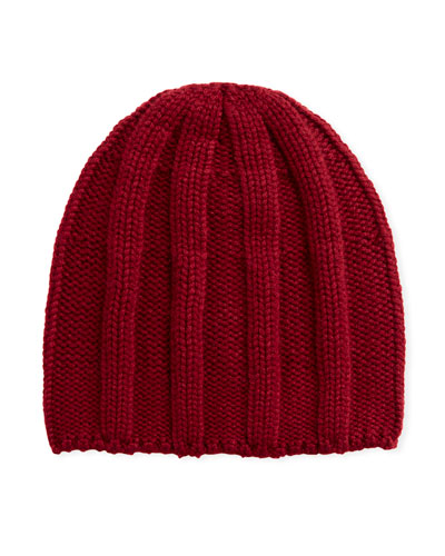 Men's Cashmere Ribbed Beanie Hat