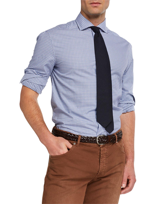 Brunello Cucinelli T-shirts MEN'S BASIC FIT CHECK SPORT SHIRT