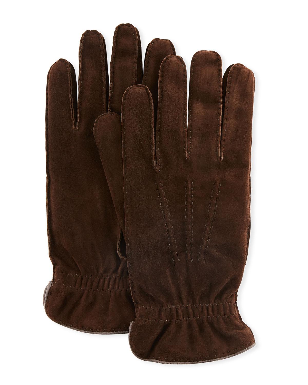 Brunello Cucinelli Gloves MEN'S THREE-CORD SUEDE GLOVES