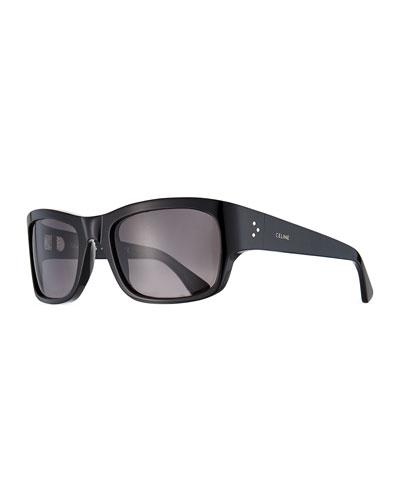 Men's Gradient Rectangle Acetate Sunglasses