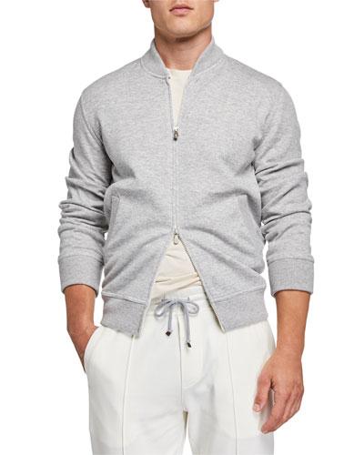 Men's Zip-Front Cashmere/Cotton Sweatshirt
