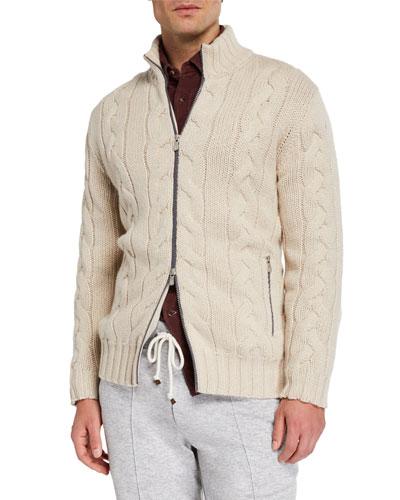 Men's Cashmere Cable Knit Zip Sweater