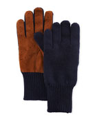 Brunello Cucinelli Men's Suede-Palm Cashmere Gloves