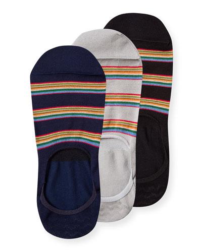 Men's 3-Pack Multi-Stripe No-Show Socks