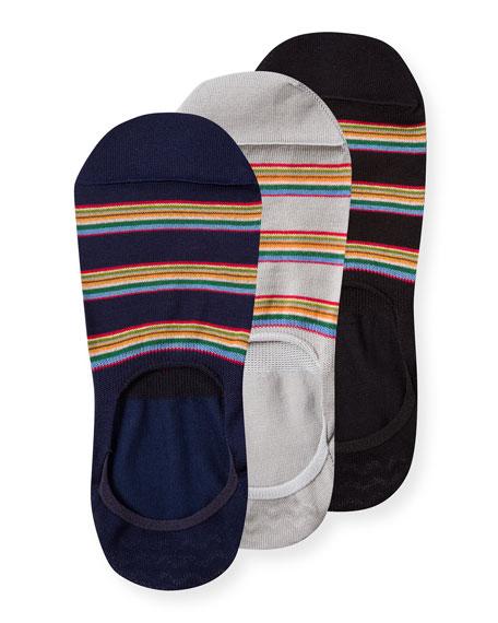 Paul Smith Men's 3-Pack Multi-Stripe No-Show Socks