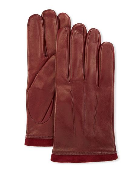 Portolano Men's 3-Point Napa Leather Gloves w/ Cashmere Lining