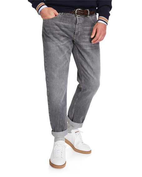 Brunello Cucinelli Men's Traditional-Fit Selvedge Denim Jeans