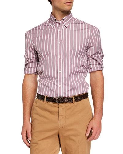 Men's Basic-Fit Striped Sport Shirt, Dusty Pink