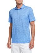 Peter Millar Men's Car-Print Cotton Polo Shirt