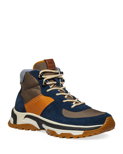 Men's Colorblock Suede/Nylon Hiking Boots