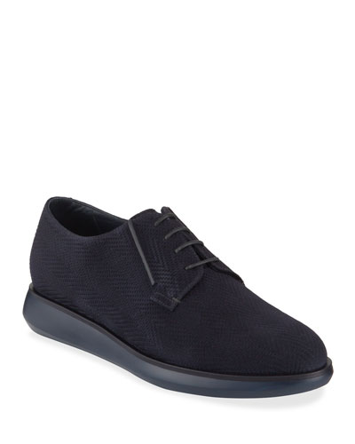 Men's Chevron-Suede Derby Shoes
