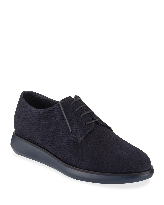 Men's Chevron-Suede Derby Shoes