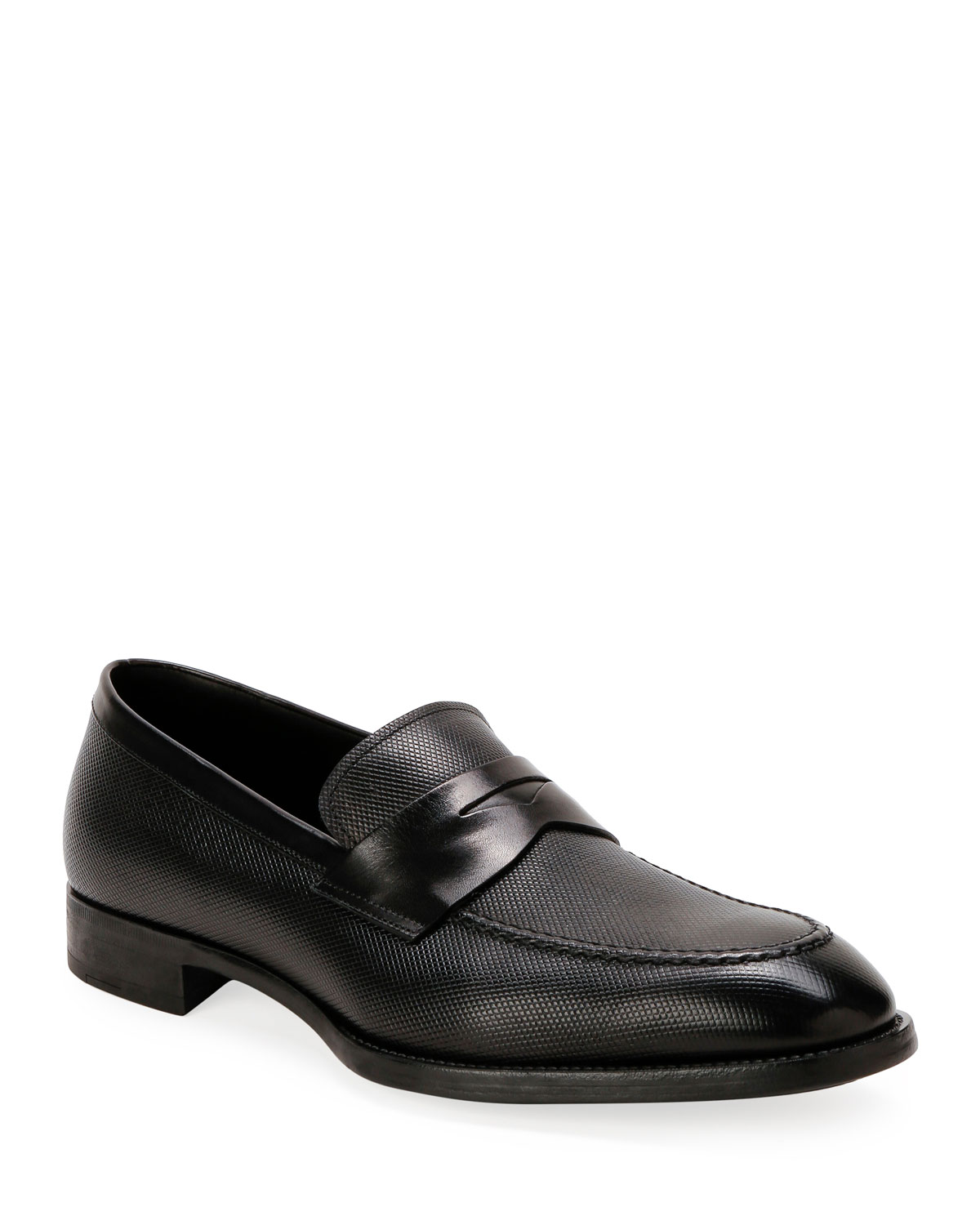 Giorgio Armani Loafers MEN'S TEXTURED LEATHER PENNY LOAFERS