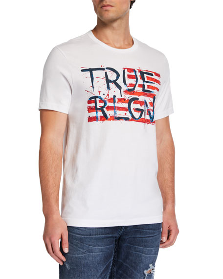 True Religion Men's Painted Flag-Graphic T-Shirt