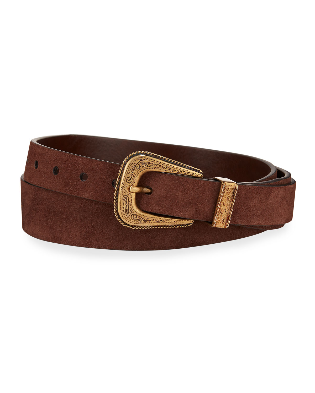 Brunello Cucinelli Belts MEN'S SUEDE WESTERN BELT