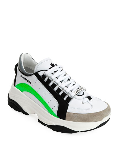 Men's Colorblock Chunky Runner Sneakers, White Pattern