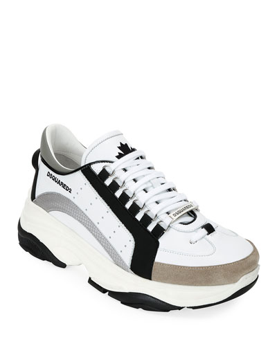 Men's Colorblock Chunky Runner Sneakers, Black/White