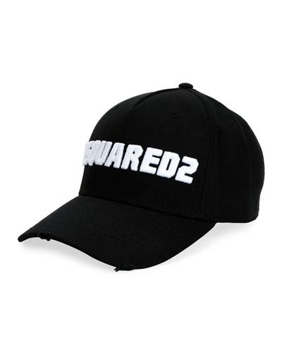 Men's Logo-Embroidered Baseball Cap, White/Black