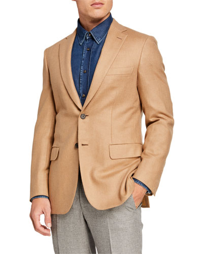 Men's Camel Herringbone Two-Button Jacket