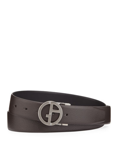 Men's Reversible GA Buckle Leather Belt, Brown/Black