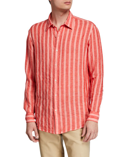 Men's Slim Luxe Linen Striped Sport Shirt