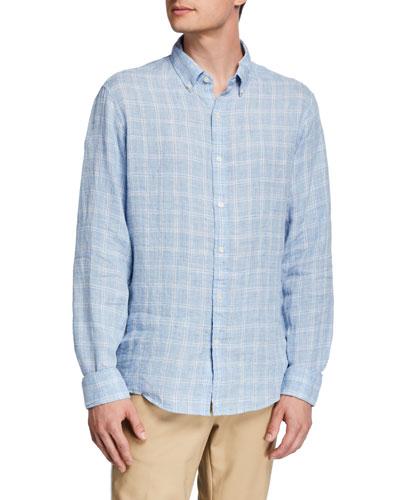 Men's Linen Melange Check Sport Shirt
