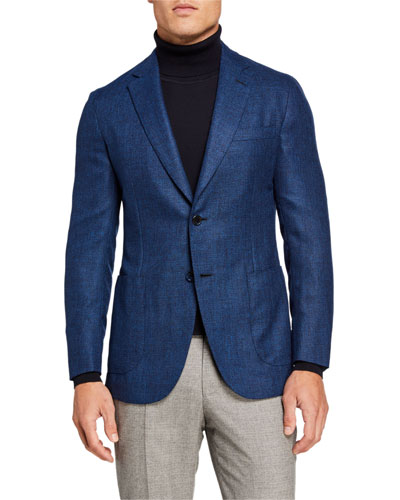 Men's High-Color Textured Two-Button Jacket