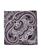 Edward Armah Large-Paisley Printed Silk Pocket Square