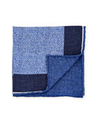 Edward Armah Reversible Chevron Silk Pocket Square, Blue