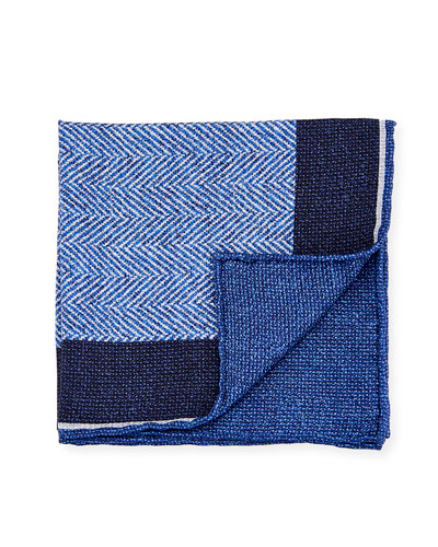 Reversible Chevron Silk Pocket Square, Blue