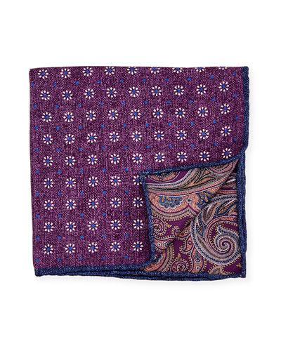 Reversible Floral/Paisley Printed Silk Pocket Square, Purple